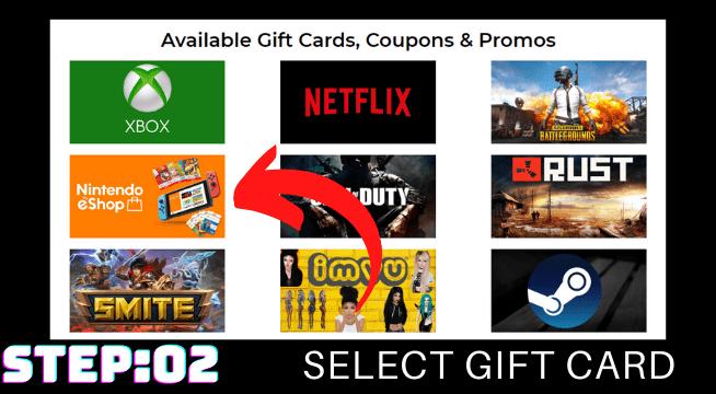 Select Nintendo Eshop Gift Card