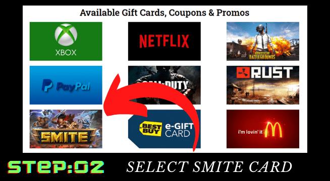 Smite Gems Free card coupon
